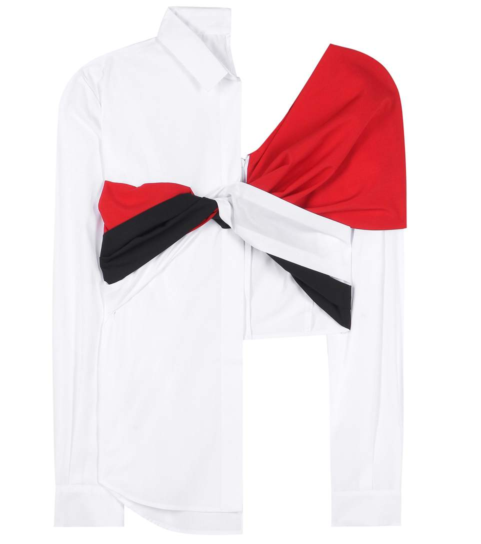 JACQUEMUS Wool Twill-Paneled Cotton-Poplin Shirt in White-Eavy-Red