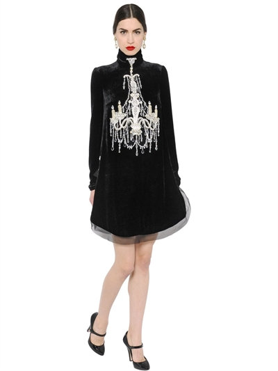 DOLCE & GABBANA Mock-Neck Embellished-Chandelier Dress, Black at LUISAVIAROMA