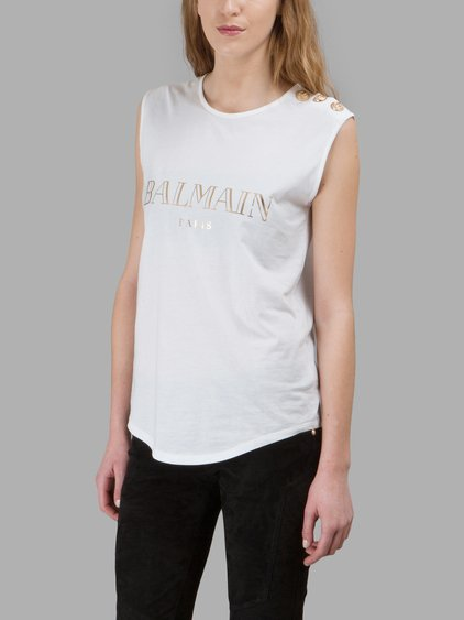 BALMAIN Logo Cotton Jersey Sleeveless Top, White at Antonioli