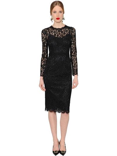 DOLCE & GABBANA Floral-Lace Long-Sleeve Dress, Black at LUISAVIAROMA