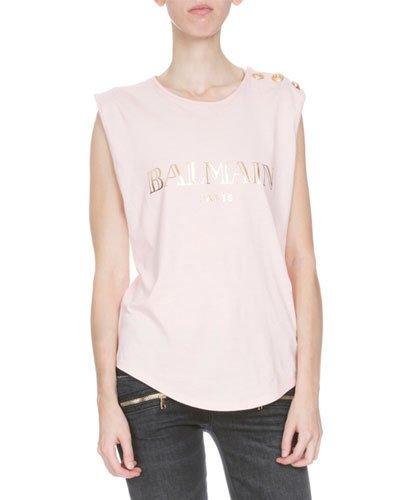BALMAIN Logo Cotton Jersey Sleeveless Top, White at Neiman Marcus
