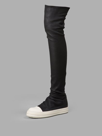 RICK OWENS Over The Knee Stretch Leather Sneakers, Black/White at Antonioli