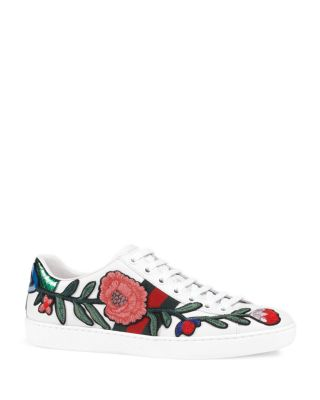 GUCCI New Ace Floral-Embroidered Low-Top Sneaker, White/Multi, Multi Colors at Bloomingdale's