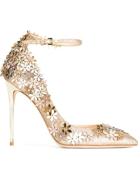 JIMMY CHOO Lorelai 100 Nude Fine Glitter Fabric Pumps With Champagne Flower Mix Embellishment at Farfetch
