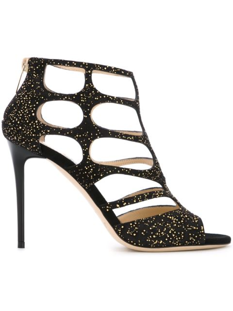 JIMMY CHOO Ren Suede Caged 100Mm Sandal, Black/Gold