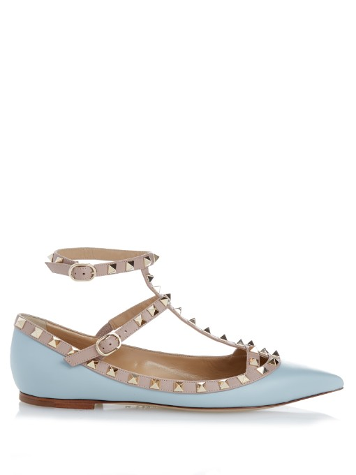 VALENTINO Rockstud Patent Leather Cage Flats at MATCHESFASHION.COM