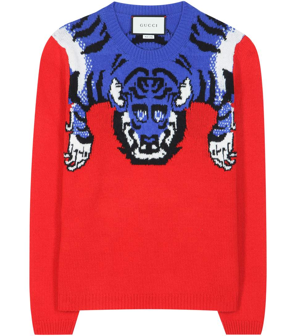 GUCCI Women'S Tiger Knit Crew Neck Sweater In Red And Blue at mytheresa.com