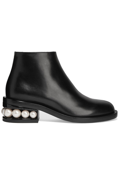 NICHOLAS KIRKWOOD 'Casati' Faux Pearl Heel Leather Ankle Boots at NET-A-PORTER
