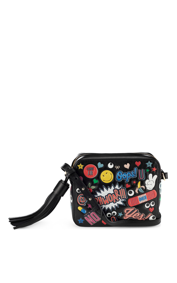 ANYA HINDMARCH Crossbody All Over Wink Stickers Bag In Black Circus Leather at Moda Operandi