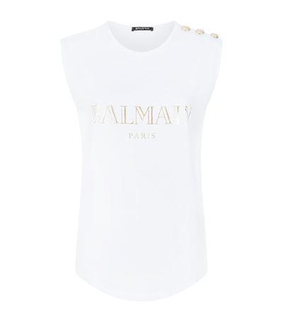 BALMAIN Logo Cotton Jersey Sleeveless Top, White at Harrods