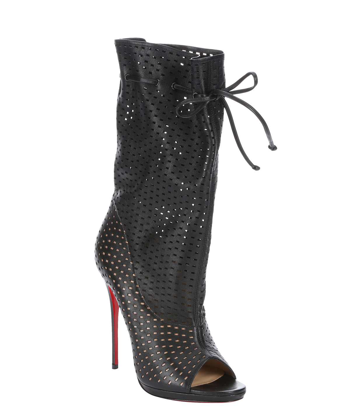 CHRISTIAN LOUBOUTIN Black Perforated Leather 'Jennifer 120' Open-Toe Boots' at Bluefly