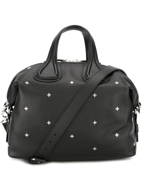 GIVENCHY Nightingale Micro Black Leather Satchel Bag W/Metal Cross at Farfetch
