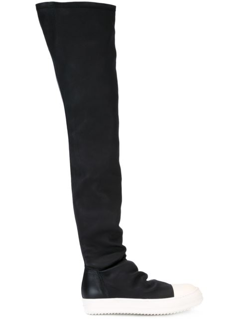 RICK OWENS Over The Knee Stretch Leather Sneakers, Black/White at Farfetch