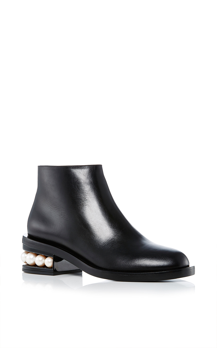 NICHOLAS KIRKWOOD 'Casati' Faux Pearl Heel Leather Ankle Boots at Moda Operandi