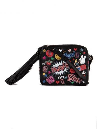 ANYA HINDMARCH Crossbody All Over Wink Stickers Bag In Black Circus Leather at Italist.com
