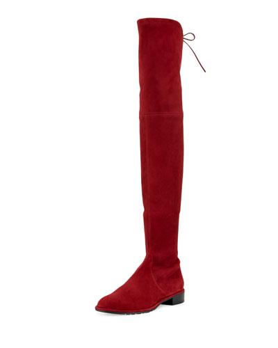 STUART WEITZMAN Lowland Suede Over-The-Knee Boot, Scarlet Suede