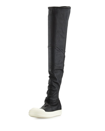 RICK OWENS Over The Knee Stretch Leather Sneakers, Black/White at Neiman Marcus