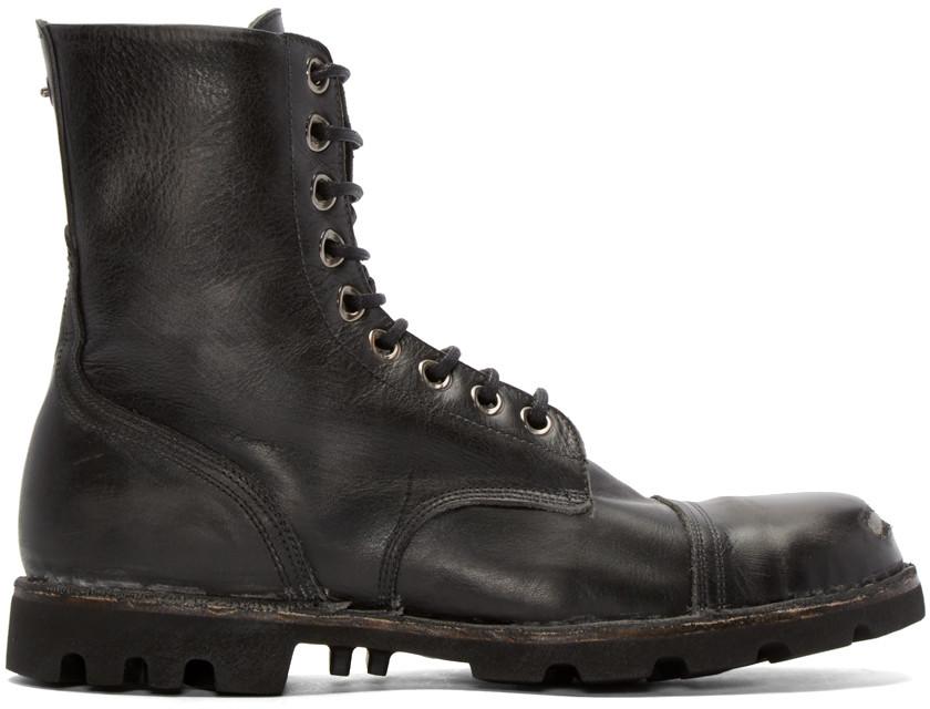 DIESEL Steel Toe Vintage Effect Leather Boots, Black