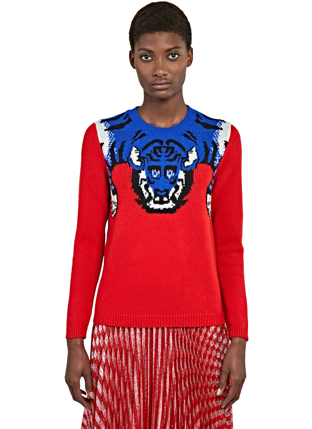 GUCCI Women'S Tiger Knit Crew Neck Sweater In Red And Blue at LN-CC
