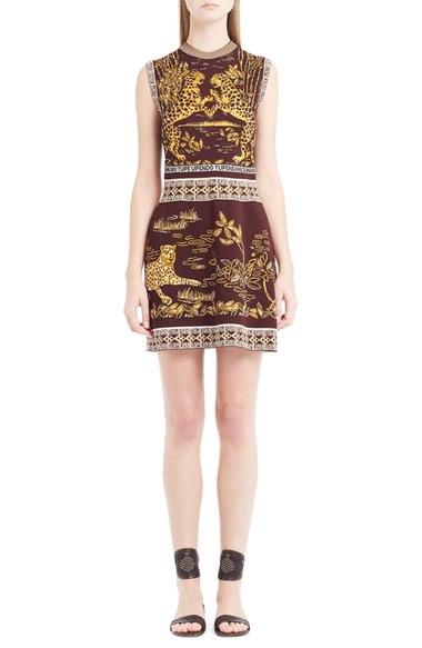 VALENTINO Sleeveless Jaguar-Print Sheath Dress, Black/Gold, Black Gold