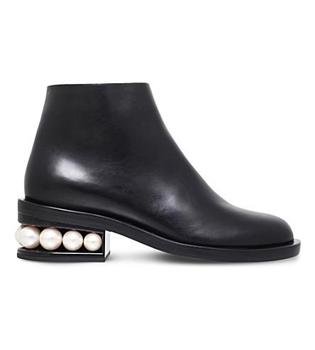 NICHOLAS KIRKWOOD 'Casati' Faux Pearl Heel Leather Ankle Boots at Selfridges