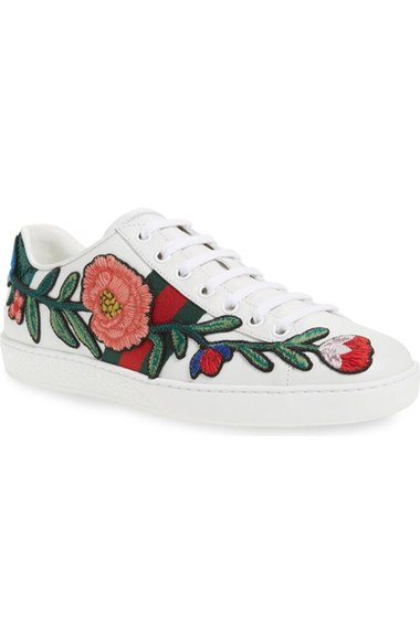 GUCCI New Ace Floral-Embroidered Low-Top Sneaker, White/Multi, Multi Colors at Nordstrom