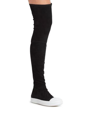 RICK OWENS Over The Knee Stretch Leather Sneakers, Black/White at Saks Fifth Avenue
