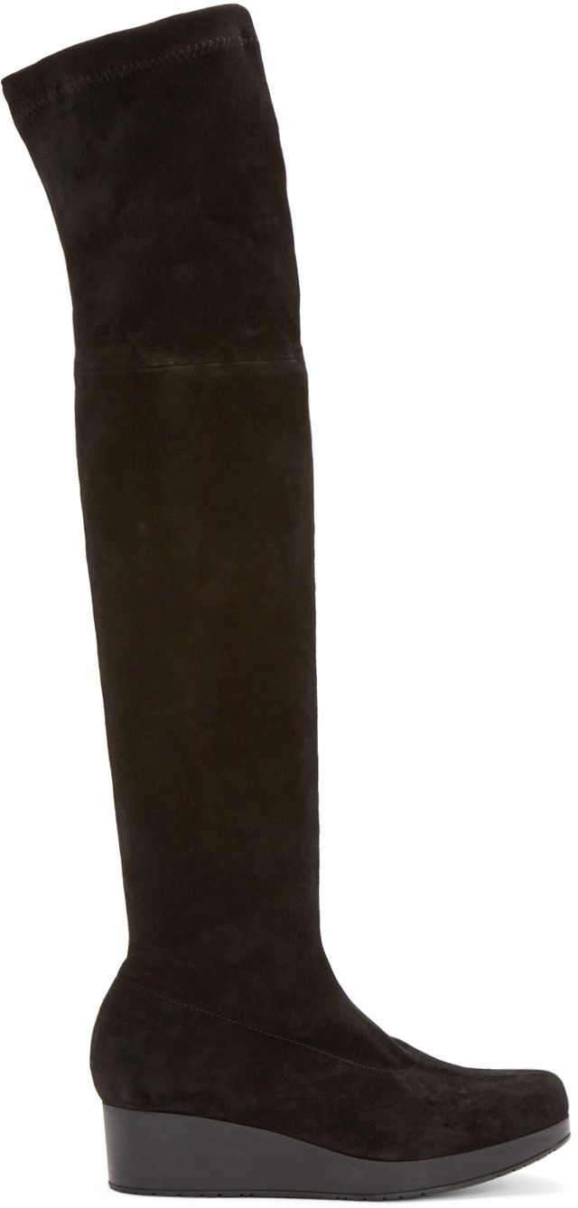 ROBERT CLERGERIE Stretch Suede Over-The-Knee Platform Wedge Boots ...
