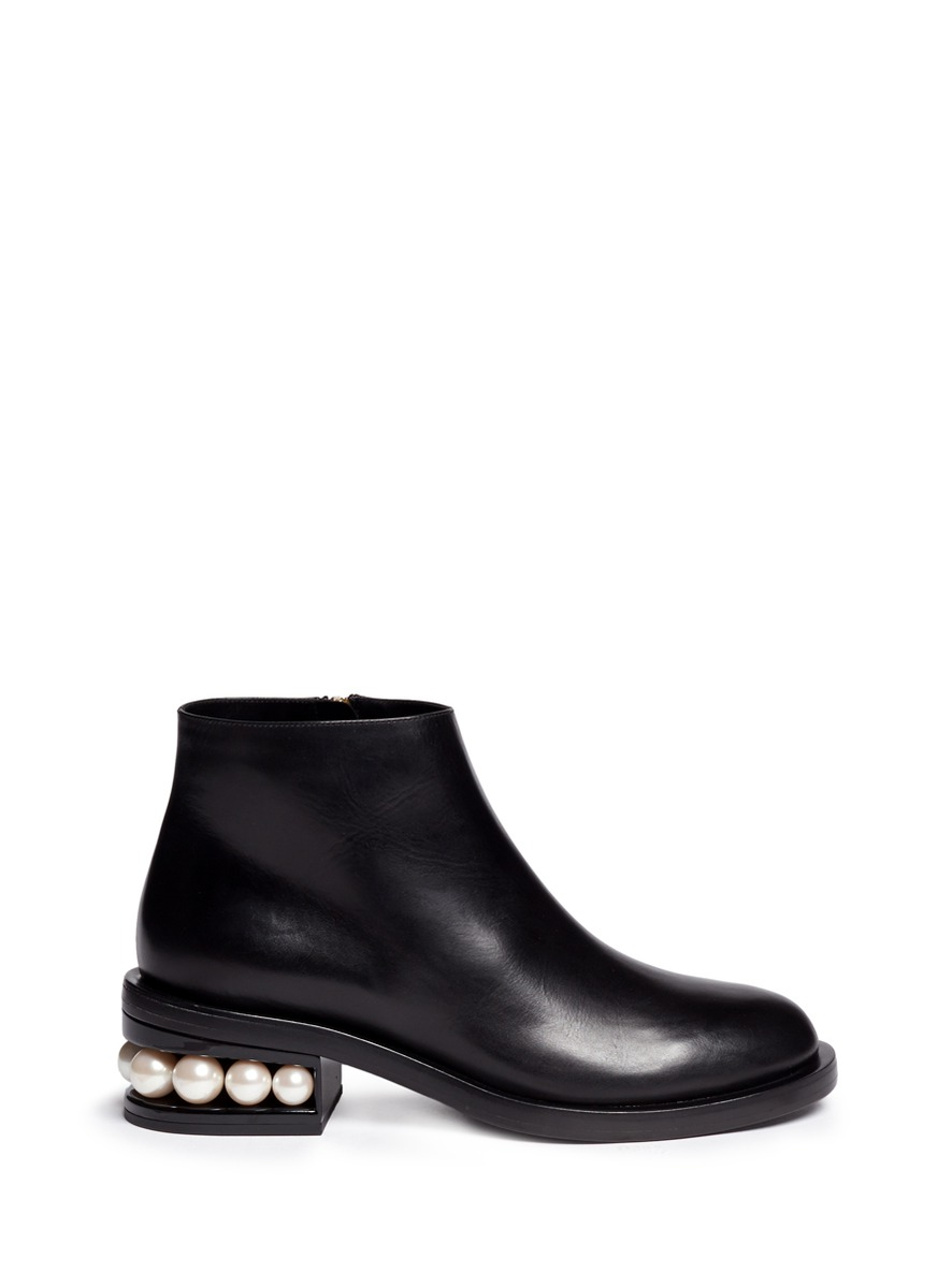 NICHOLAS KIRKWOOD 'Casati' Faux Pearl Heel Leather Ankle Boots at Lane Crawford