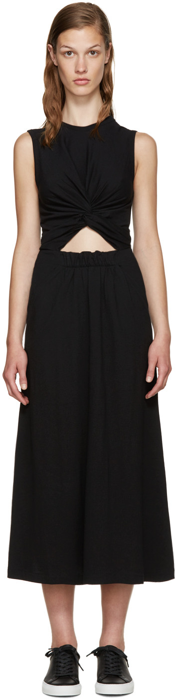 T BY ALEXANDER WANG T By Alexander Twist Front Midi Tank Dress in Black