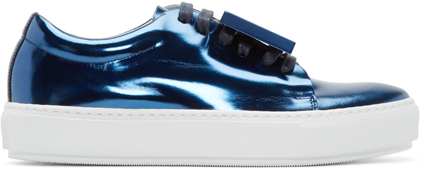 ACNE STUDIOS Adriana Metallic-Leather Low-Top Trainers at SSENSE