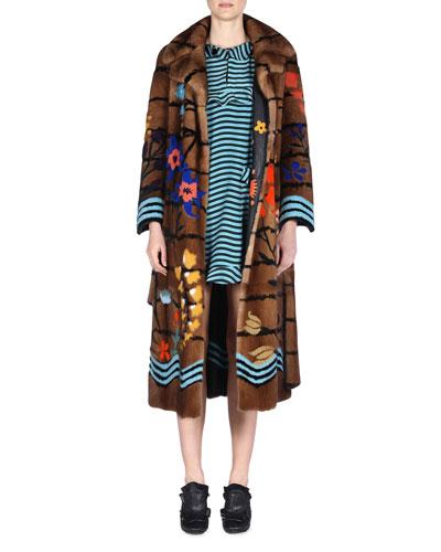 FENDI Floral Intarsia Mink Fur Coat, Brown/Multi