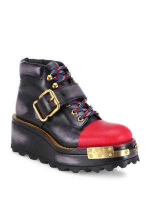 PRADA Buckle Leather 60Mm Hiking Boot, Black/Scarlet (Nero/Scarlatto), Nero+Scarlatto