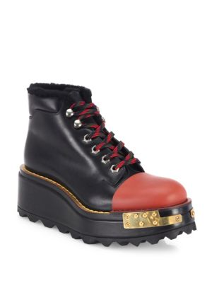 PRADA Buckle Leather 60Mm Hiking Boot, Black/Scarlet (Nero/Scarlatto), Nero+Scarlatto at Saks Fifth Avenue