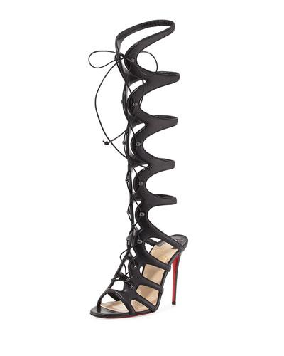 CHRISTIAN LOUBOUTIN Amazoula 100Mm Leather Tall Gladiator Red Sole Sandal, Black at BERGDORF GOODMAN