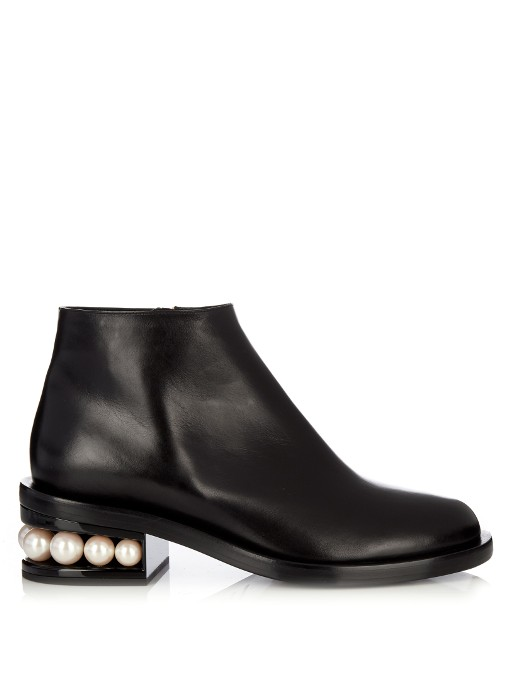 NICHOLAS KIRKWOOD 'Casati' Faux Pearl Heel Leather Ankle Boots at MATCHESFASHION.COM