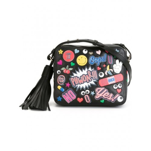ANYA HINDMARCH Crossbody All Over Wink Stickers Bag In Black Circus Leather at THE WEBSTER