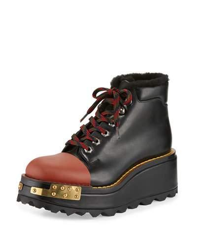PRADA Buckle Leather 60Mm Hiking Boot, Black/Scarlet (Nero/Scarlatto), Nero+Scarlatto at BERGDORF GOODMAN