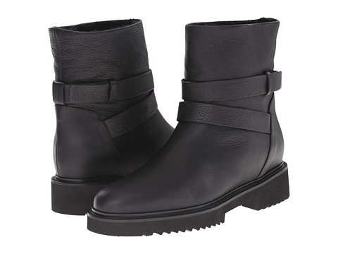 VINCE Cagney Shearling Fur-Lined Leather Moto Boot at 6PM.COM