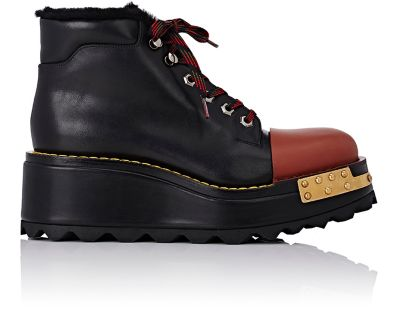 PRADA Buckle Leather 60Mm Hiking Boot, Black/Scarlet (Nero/Scarlatto), Nero+Scarlatto at BARNEYS