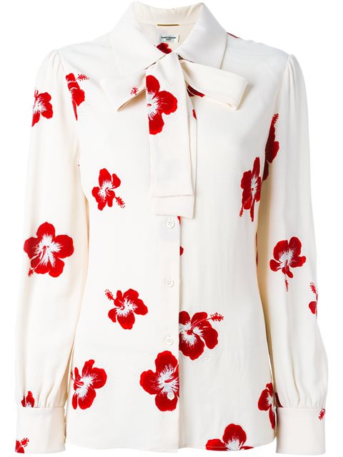 SAINT LAURENT Floral Collar Lavalliere Blouse in Creme Red Silver