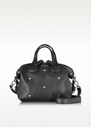GIVENCHY Nightingale Micro Black Leather Satchel Bag W/Metal Cross at FORZIERI