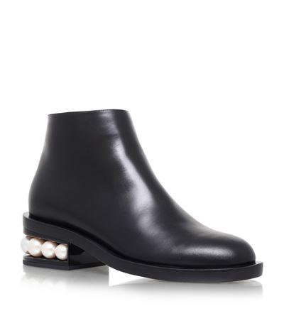 NICHOLAS KIRKWOOD 'Casati' Faux Pearl Heel Leather Ankle Boots at Harrods