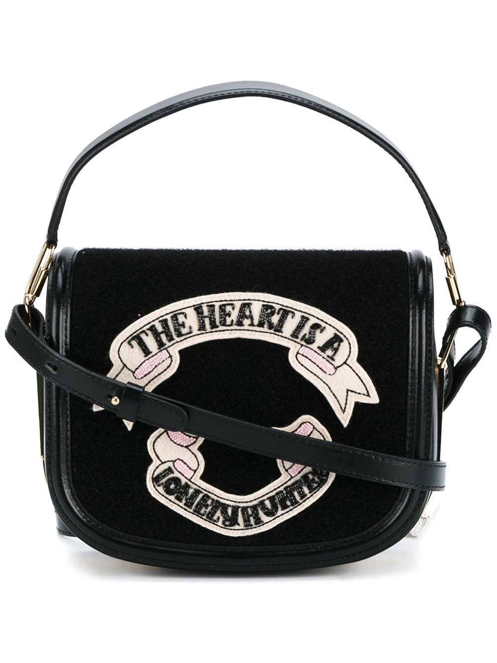OLYMPIA LE-TAN Leather Shoulder Bag With Felt at THE WEBSTER
