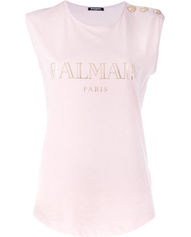 BALMAIN Logo Cotton Jersey Sleeveless Top, White at Browns Fashion