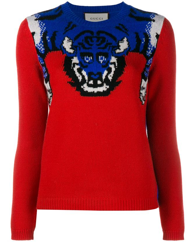 GUCCI Women'S Tiger Knit Crew Neck Sweater In Red And Blue at Browns Fashion