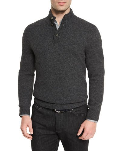 ERMENEGILDO ZEGNA Yak Mock-Neck Button Sweater, Charcoal