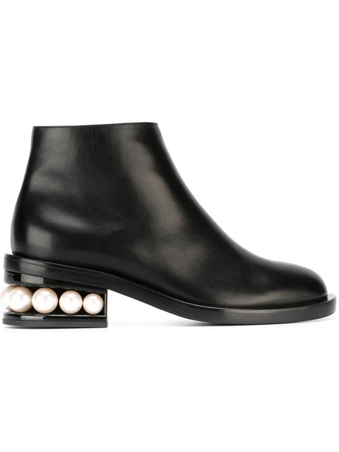 NICHOLAS KIRKWOOD 'Casati' Faux Pearl Heel Leather Ankle Boots at Farfetch