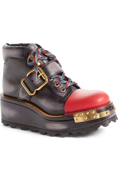 PRADA Buckle Leather 60Mm Hiking Boot, Black/Scarlet (Nero/Scarlatto), Nero+Scarlatto at Nordstrom