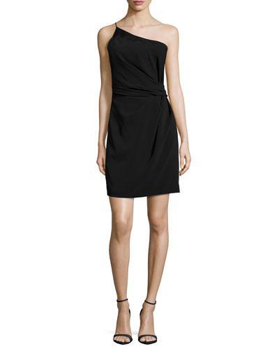 HALSTON HERITAGE One-Shoulder Cocktail Dress, Black at LastCall.com
